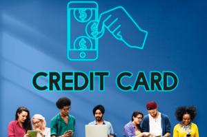 学生とクレジットカードの文字