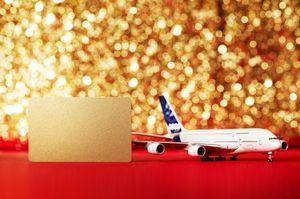 赤い布の上に置かれた飛行機の模型とゴールドカード