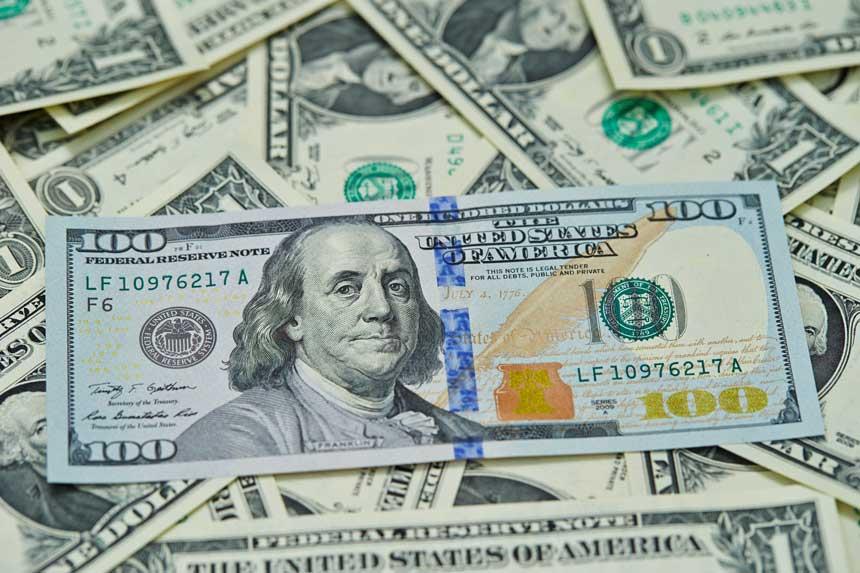 たくさんの1米ドル札と100米ドル札