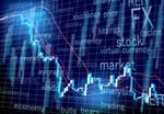 暴落するチャートと映し出されるファイナンス関連用語
