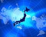 世界地図と時計を背景に浮かび上がる日本列島