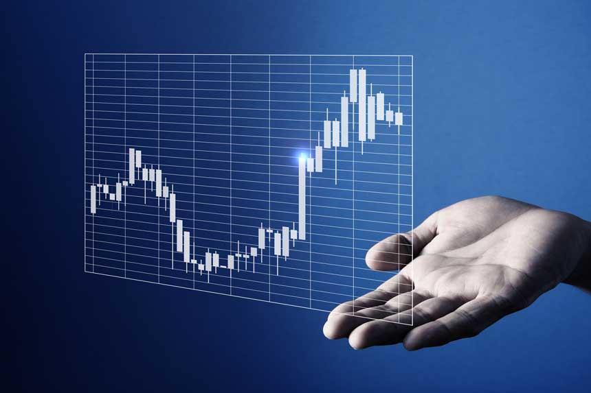 手のひらの上に投影されたチャート
