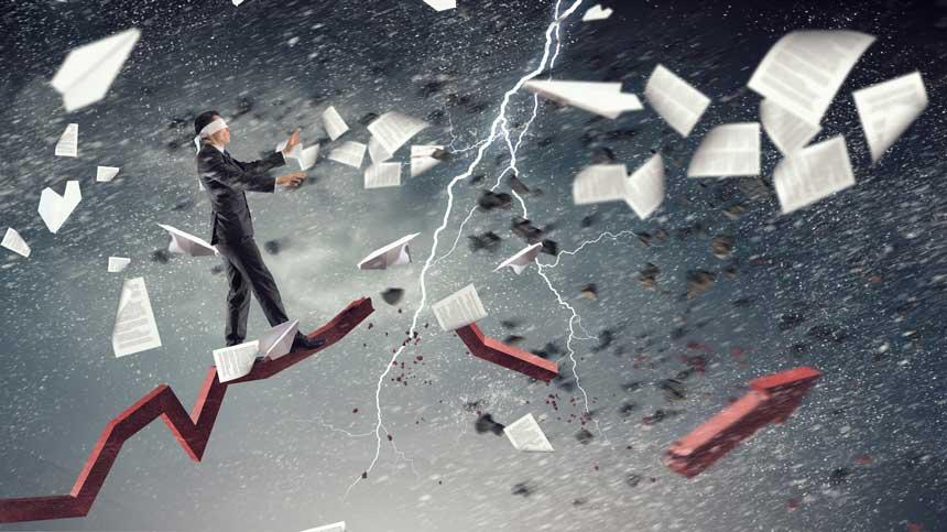 雷に破壊されるチャートと風に飛ばされる書類