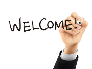 welcome written by 3d hand