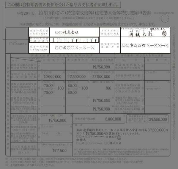 住宅借入金等特別控除申告書の記入例(勤務先・名前・住所)