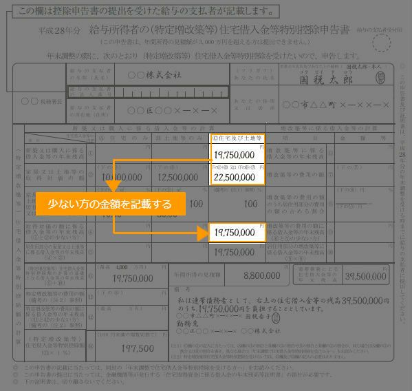 住宅借入金等特別控除申告書の記入例(取得対価の額に関わる借入金等の年末残高)
